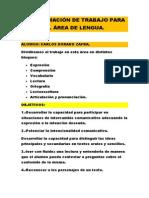 Programación de Trabajo Para El Área de Lengua