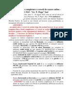 Instructiuni Cazare 2014-2015