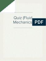 Quiz (Fluid Mechanics)