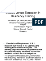 Service Versus Education in Residency Training