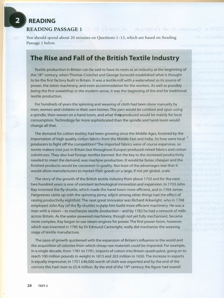 Test2-Reading Passage 1 | Textiles | Clothing Industry