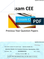 Assam CEE 2014 Question Paper - Mathematics
