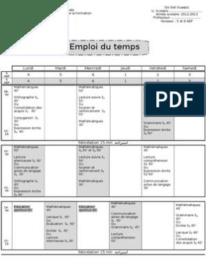 Emploi Du Temps Francais 5 Et 6 Aep Mes Apprentissages