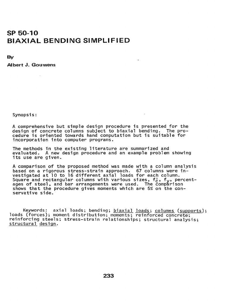 Gouwens, Biaxial Bending Simplified | Bending | Column