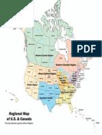 United States Canada Regional Map