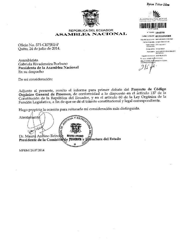 Informe Para Primer Debate Del Proyecto de Coìdigo Orgaìnico General ...