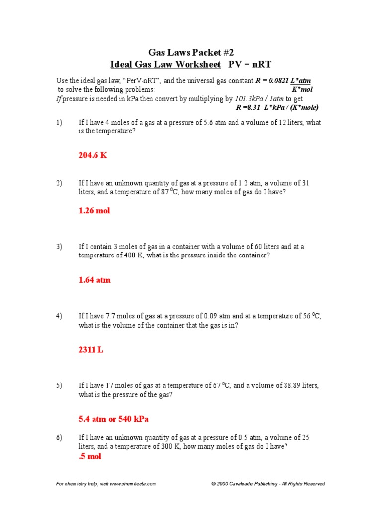 Gas Laws Packet 2 ANSWERS Gases – Combined Gas Law Worksheet