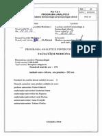Programa Analitica Farmacologie RO