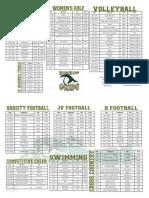 Fall Sport Schedule 2014