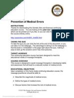 FMT001 Prevention of Medical Errors