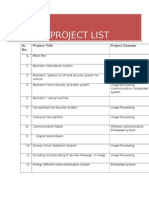 Project List for B.E.