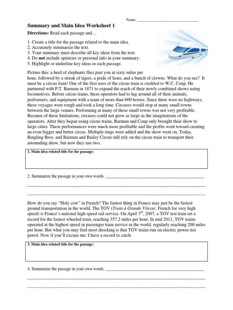summaryandmainideaworksheet1 Tram – Summarize Worksheet