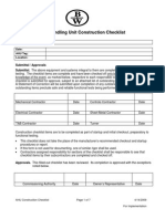 Air Handling Unit Construction Checklist