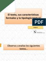 El Texto, Características Formales y Tipología Textual