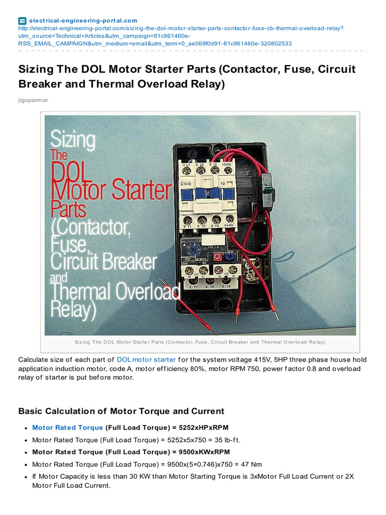 Electrical-Sizing the DOL Motor Starter Parts Contactor Fuse Circuit ...
