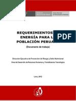 Requerimiento de Energía Para La Población Peruana