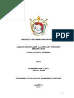 Analisis Kerentanan Masyarakat Terhadap Bencana Rob - Studi Kasus Kota Semarang