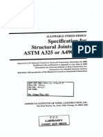 AISC Specification for Structural Joints Using ASTM A325 or A490 Bolts