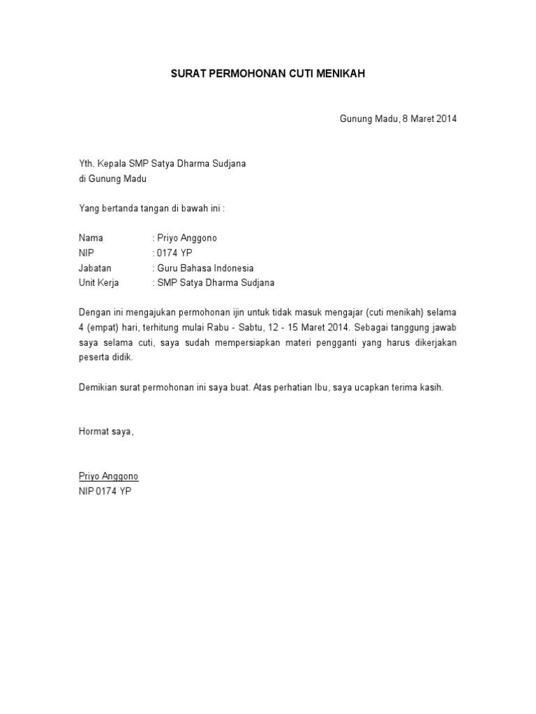 Contoh Surat Izin Cuti Nikah - Contoh Surat Lengkap Gratis 2020