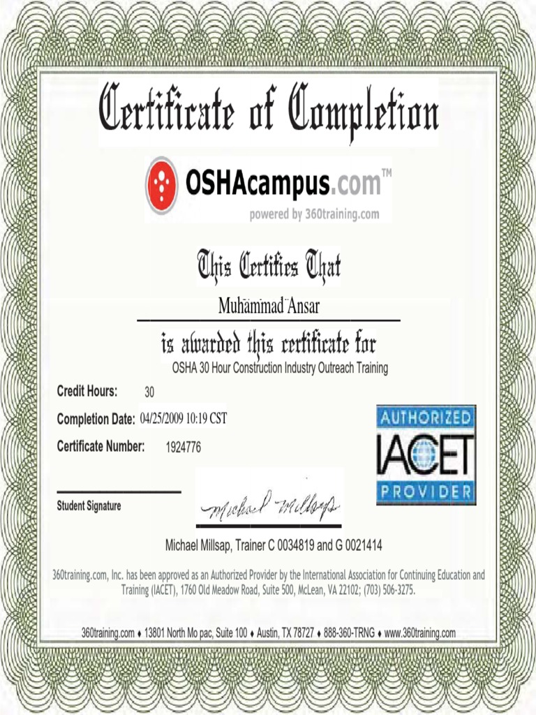 osha certificate document