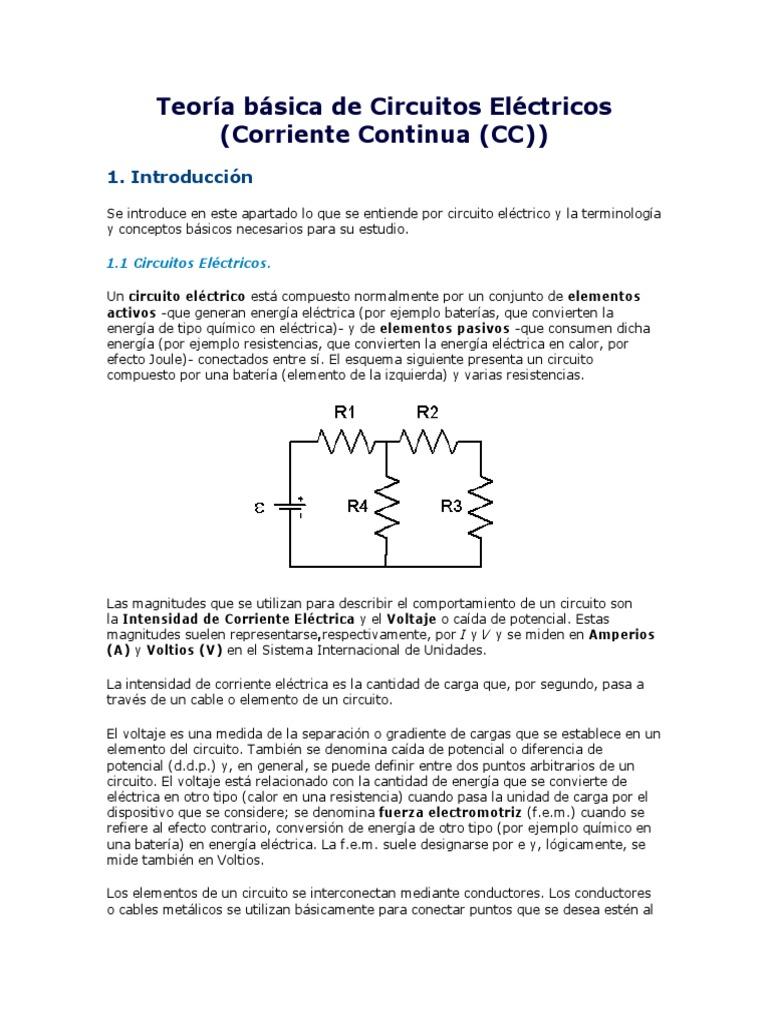 Circuito Basico Electrico : Teoria basica de circuitos electricos