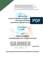 Descripcion Del Proceso Ptar 1.0 Lps Factultad de Agronomia