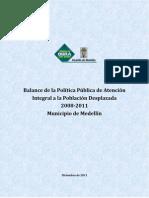 Alcaldia de Medellin_Balance Politica Publica Atencion Poblacion Desplazada 2008-2011