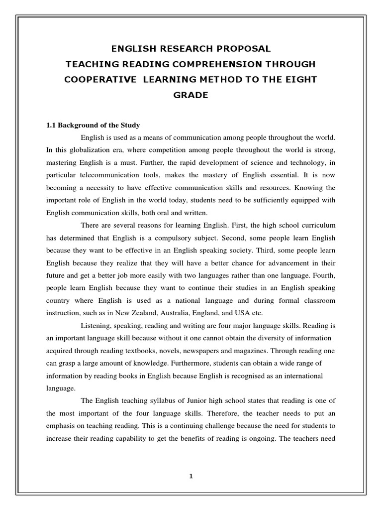 thesis proposal on reading comprehension The relationship between motivation and reading the relationship between motivation and reading comprehension thesis proposal.