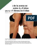 La Dieta de La Avena Se Pierden Entre 4 y 5 Kilos