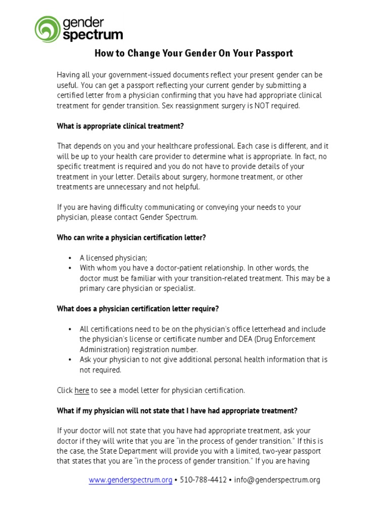 Changing Your Gender On Your Passport Physician Gender Identity