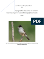 The effects of anthropogenic noise pollution on the song frequency of the eurasian blackcap