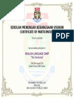 Contoh Sijil English Camp
