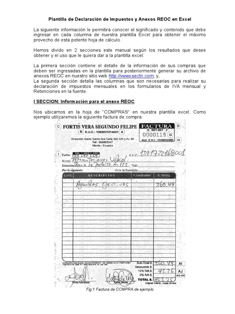 Manual Plantilla de Declaración de Impuestos y Anexos REOC en Excel