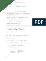 c program for Buble Sort Using Functions VTU 1st sem