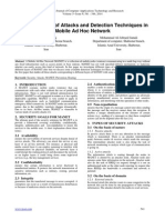 Different Types of A ttacks and Detection T echniques in Mobile A d H oc Network