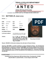 Wanted Poster For Jesse Matthew