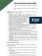 Prudential Regulations for Microfinance Banks (MFBs)