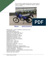 Motos Ficha Tecnica Wx250gy A