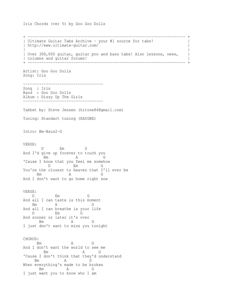 Goo Goo Dols Iris Song Structure Music Media