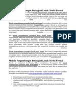 Metode Pengembangan Perangkat Lunak Model Formal