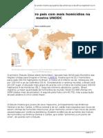 ONU Brasil-Brasil é o terceiro país com mais homicídios na América do Sul, mostra UNODC