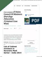 Portfolios of Union Council of Ministers (Part_Age_Education_Criminal Case Wise)