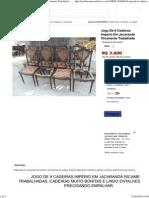 (3) Jogo De 8 Cadeiras Império Em Jacarandá Ricamente Trabalhada - R$ 3