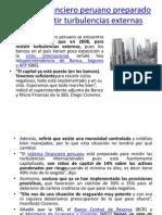Sistema Financiero Peruano Preparado Para Resistir Turbulencias Externas