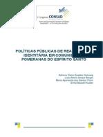 033 Políticas Públicas de Reafirmação Identitária Em Comunidades Pomeranas Do Espírito Santo