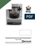Manual de Utilizare Pentru Uscator in Pat Fluidizat TG200 Retsch Necesar in Pregatirea Probelor de Laborator