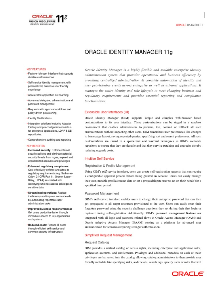 Oracle Identity Manager 11g | Provisioning | Oracle Corporation