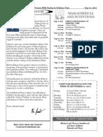 Santa Sophia Bulletin for September 21, 2014