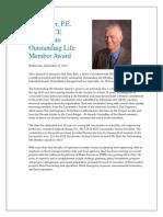 Stein Buer, P.E. Wins ASCE Sacramento Outstanding Life Member Award