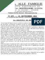 Lettera alle Famiglie - 21 settembre 2014